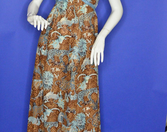 Vintage Estate Brown Blue Gold White Black Silk Collared Safari Novelty Print Maxi Dress