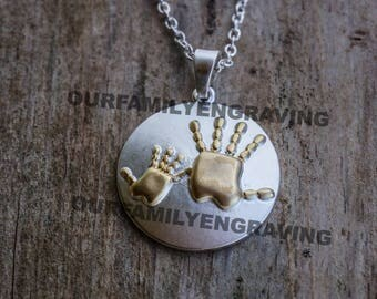 Mother Child hands baby mom Mothers day handprint Mommy pendant necklace