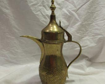 Coffeepot, Dallah, Turkish or Arabic, Brass, Decorative, Embossed, 1960's or 1970's