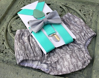 1st Birthday boy cake smash bow tie suspenders outfit 6m-24 mo Gray arrows mint, boy outfit,bloomers,diaper cover