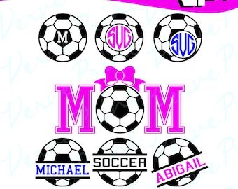Soccer Monogram Frames Svg, Soccer Svg, Ai, Eps, Pdf, Png Cutting file, Silhouette Clip Art svg Commercial use