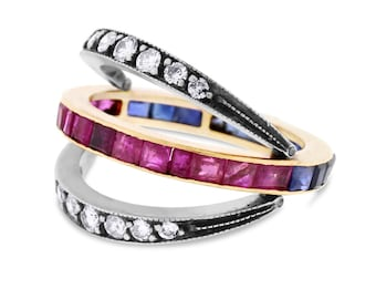 Vintage Ruby & Sapphire Eternity Band, Diamond Reversible Bands 14k Gold