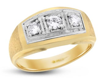 0.47 Ct. Natural Diamond Three Stone Filigree Mens Ring In Solid 14k Yellow Gold