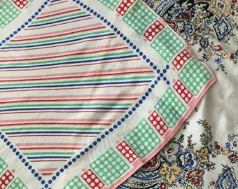 1940's silk ladies handkerchiefs x 2