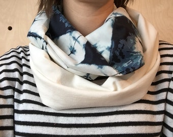 Infinity scarf woman, indigo print, cotton voile very lightweight