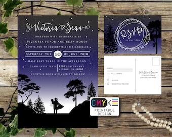Starry Night Wedding Invitation, Under the Stars Invitation, Night Wedding, Outside wedding