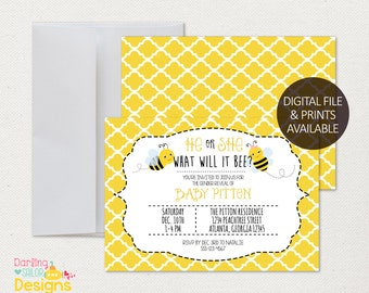 What will it Bee Gender Reveal Invitation, Printable Party Invitation | 5x7 | Print @ home | Gender Reveal | Digital File | Bee | Bumble Bee