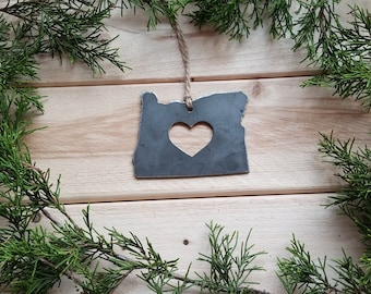 Love Oregon State Steel Ornament Rustic OR Metal State Heart Host Gift Keepsake Travel Wedding Favor By BE Creations