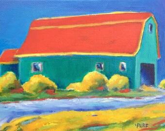 """Little Wise Barn, Oil, 7x5"""""""