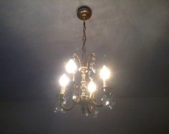 Beautiful Vintage French Chandelier, Brass with Crystal Droplets, 4 Branch Arms, Ornate Detail and in Wonderful Condition!