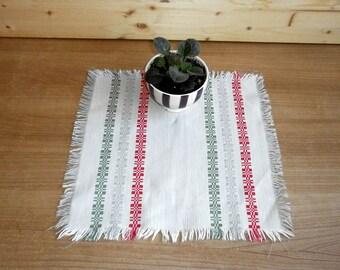 Vintage white woven linen tablecloth table runner doily Textile folk art piece Mid Century 1970s Soviet vintage embroidery linens