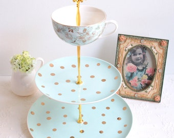 Cake Stand.Blue 3 tier Cake/Cupcake Stand.Gold Polka Dots Tiered Stand.Tea Party, Vintage Baby/Bridal Shower, Wedding, Easter Centerpiece