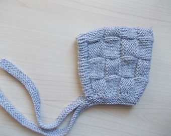 Knit pixie hat Gray baby bonnet Knit newborn hat Baby pixie bonnet Boy pixie hat Basket weave bonnet Knit newborn bonnet Gray baby boy hat