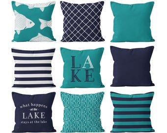 Fishing Throw Pillow Covers, Nautical Pillow Covers, Lake Pillow Covers, Navy Blue Teal White Lake House Decor, Navy Fishing Gift Decor