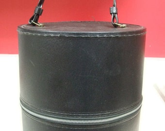 Champaign Illinois Hat Wig Box Champaign Illinois Art's Hair Goods Train Case Luggage Round Zippered Faux Black Leather 1960's Mid Century