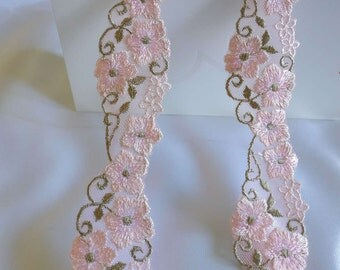 Wholesale lot 15yards/lot  pink embroidered  Lace Trim DIY Sewing  hair accesory headband wedding dress   3cm