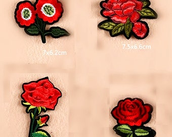 Wholesale lot  80pcs red sunflower  Rose    embroidered   iron  on patch  DIY