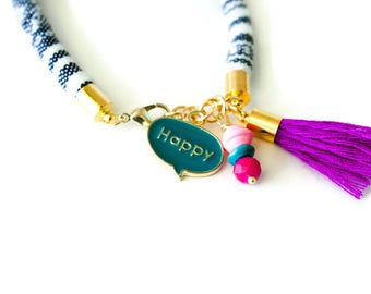 Gift for her - Friendship bracelet - Stacking bracelet - Colorful bracelet - Colorful tassel bracelet - Arm candy - Boho accories