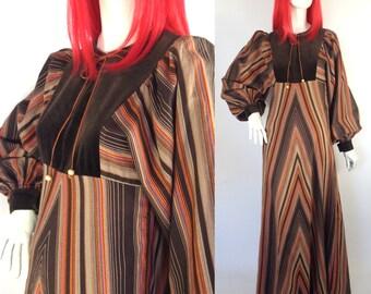 Vintage 1960s / 70s Marion Donaldson maxi dress / gown / Hippie Folk Festival Woodstock / chevron / stripes