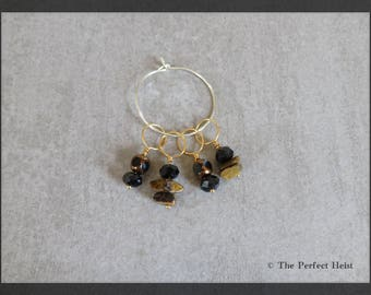 Stitch Markers, Tiger Eye, Black, Snag Free, Knitting