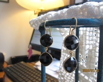 Handcrafted Victorian 14K Gold/Sterling LARGE 21.50ctw Genuine Onyx Dangle Earrings 7.3g, Size 50.8 x 16.8mm