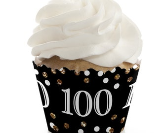 100th Birthday Cupcake Wrappers - Adult 100th Birthday - Black and Gold Birthday Party Cupcake Decorations - Set of 12