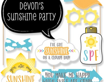 You Are My Sunshine - Photo Booth Props - You Are My Sunshine Photo Accessories for Baby Shower, Birthday Party - 20 Photo Props & Dowels