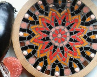 "Mosaic Lazy Susan Turntable - Glass Mandala - Kitchen Art -  Bamboo Trivet 10"" Diameter"