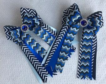 Equestrian Hair Bows/Clothing Gift/Blue Chevron, Blue Sparkle Gem