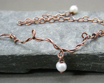 Simple pearl bracelet ~ Copper jewelry ~ Minimalist copper jewellery ~ Christmas gift for best friend ~ Adjustable bracelet gift for her ~