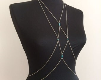 Body Chain, Silver Body Chain, Silver Body Necklace, Body Jewelry, Silver Body Harness, BDC1051-01