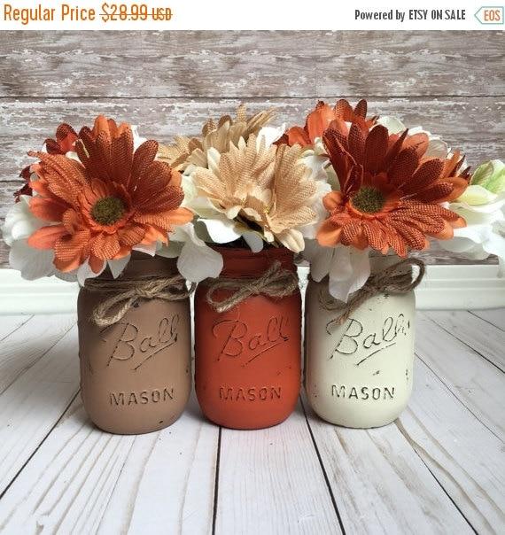 On Sale Fall Mason Jars Fall Home Decor Fall By Cbcraftycreations