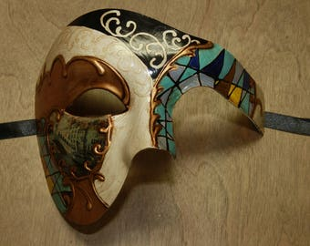 Classic Colorful Blue Venetian Costume Masquerade Mask Mosaic Phantom of the Opera Style Scenic Prop PP019BL