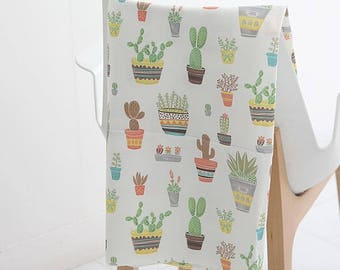 Colorful Cactus Digital Printing Cotton Fabric by Yard