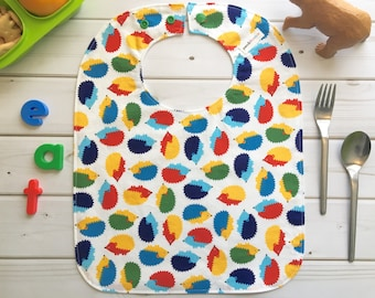 Hedgehog Baby Bib (Large Bib, Primary Colors, Secondary Colors, Food Bib, For Toddler, First Birthday, Scandinavian Design, Hygge Lunch)