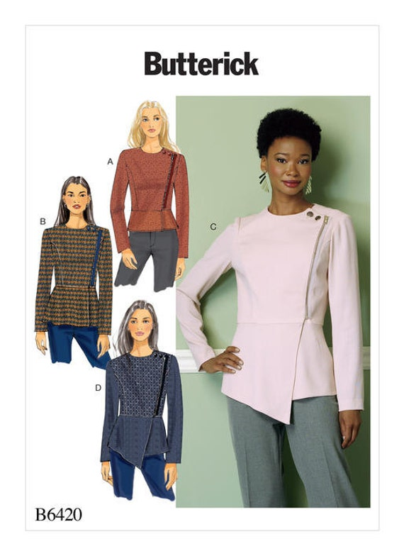 Butterick Sewing Pattern B6420 Misses\' Asymmetrical-Zip