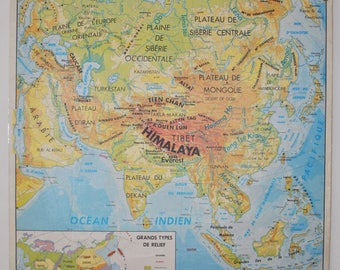 Old map double-sided - Asia physical map, agricultural map - poster school school of the 1970s MDI