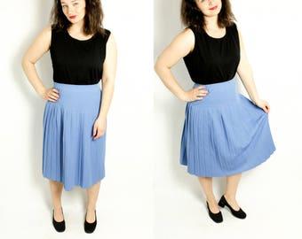 Pleated skirt, Accordion skirt, Blue skirt, Sky blue skirt, High waist skirt, Pleated skirt, Midi skirt, Vintage skirt, 70s skirt / Medium