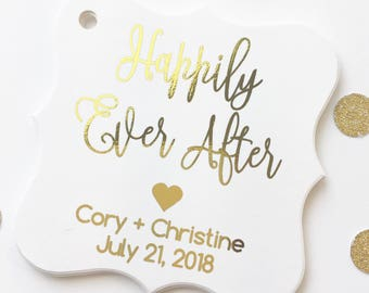 Happily Ever After Foiled Wedding Favor Tags, Wedding Favor Tags, Custom Wedding Favor Tags, Fairytale Wedding, Heart (FS-137-F)