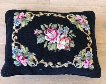 Vintage Black Needlepoint Pillow with colorful Flowers