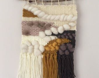 Sold...,,,Woven wall hanging on driftwood mustard cream grey
