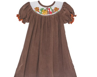 Gobble Smocked Thanksgiving Smocked Dress