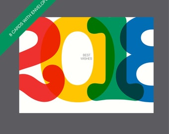 Boxed New Year Cards, Happy New Year Cards, 2018 Cards, New Year Cards, Holiday Cards, Happy 2018 Cards, Typographic Cards