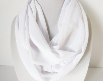 White Infinity Scarf, Summer Scarf, Geometric Scarf, Light Weight Scarves
