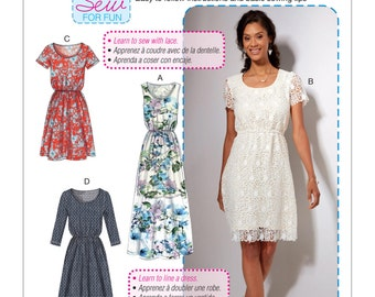 McCall's Pattern M7530 Misses' Gathered-Waist, Scoopneck Dresses