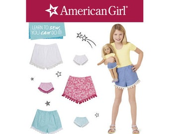 """Simplicity Pattern 8401 American Girl Shorts for Child, Girl and 18"""" Doll"""