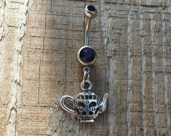 Teapot Belly Button Ring, Body Jewelry, Tea Navel Ring, Body Jewelry, Fruit Belly Button Jewelry.