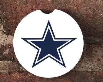 Custom Dallas Cowboys Sandstone Auto Car Cup Coasters (set of2), Absorbent Sandstone Personalized Car Coasters (set of2) Gift Ideas
