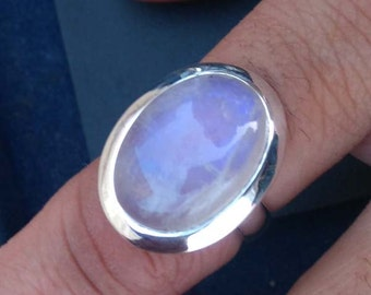 AAA Rainbow Moonstone Gemstone Ring, Moonstone Ring, Solid 925 Sterling Silver Ring, June Birthstone Ring, Classic Gift Ring Size 8