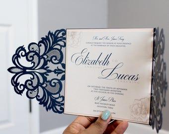Navy and BlushWedding Invitations, Laser cut wedding invitation, Navy, Blush, Elegant, DEPOSIT to get started